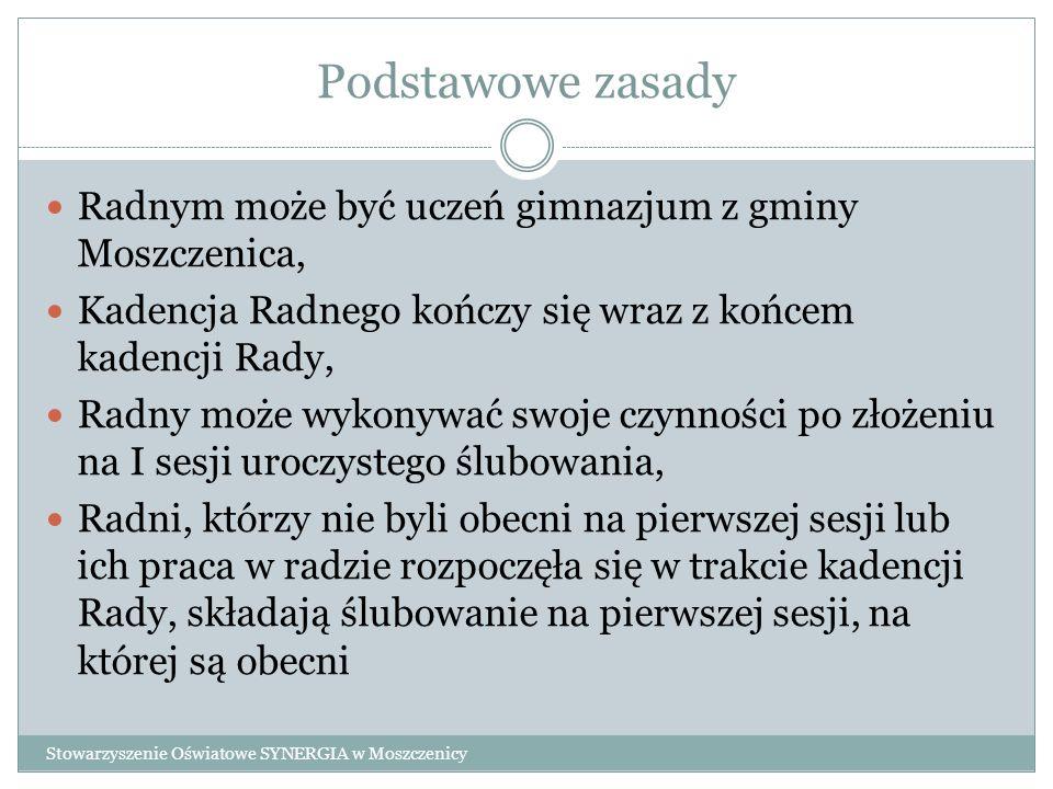 Podstawowe zasady Radnym może być uczeń gimnazjum z gminy Moszczenica, Kadencja Radnego kończy się wraz z końcem kadencji Rady, Radny może wykonywać s