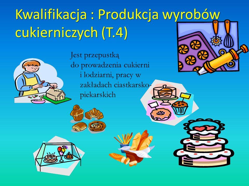 Kwalifikacja : Produkcja wyrobów cukierniczych (T.4) Jest przepustką do prowadzenia cukierni i lodziarni, pracy w zakładach ciastkarsko- piekarskich