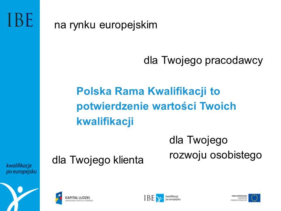 Polska Rama Kwalifikacji to potwierdzenie wartości Twoich kwalifikacji na rynku europejskim dla Twojego pracodawcy dla Twojego klienta dla Twojego roz