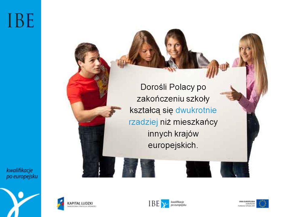 Dorośli Polacy po zakończeniu szkoły kształcą się dwukrotnie rzadziej niż mieszkańcy innych krajów europejskich.