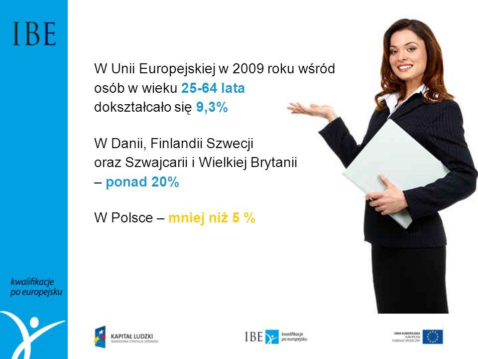 W Unii Europejskiej w 2009 roku wśród osób w wieku 25-64 lata dokształcało się 9,3% W Danii, Finlandii Szwecji oraz Szwajcarii i Wielkiej Brytanii – p
