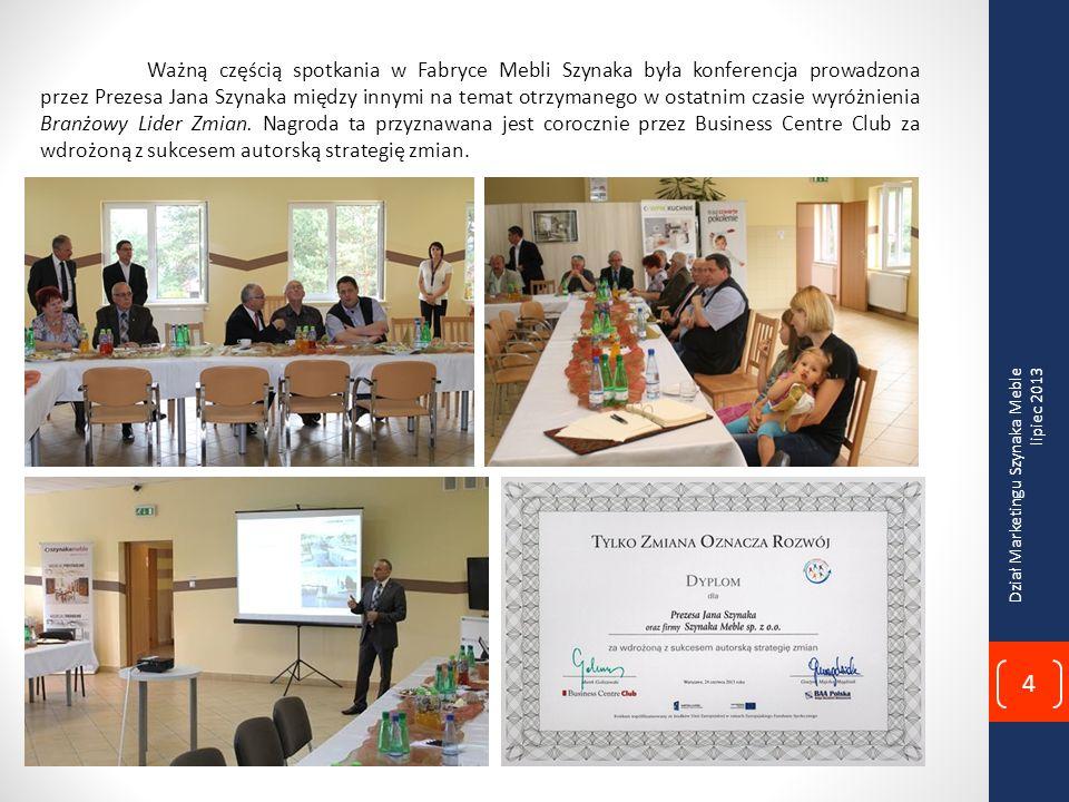 Ważną częścią spotkania w Fabryce Mebli Szynaka była konferencja prowadzona przez Prezesa Jana Szynaka między innymi na temat otrzymanego w ostatnim czasie wyróżnienia Branżowy Lider Zmian.