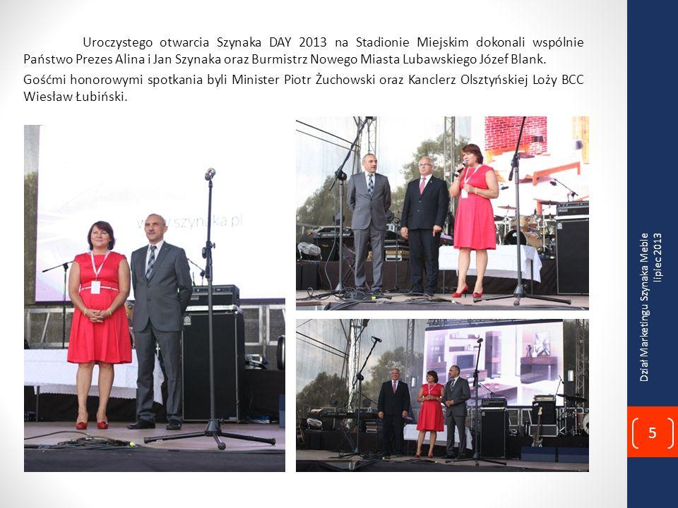 Uroczystego otwarcia Szynaka DAY 2013 na Stadionie Miejskim dokonali wspólnie Państwo Prezes Alina i Jan Szynaka oraz Burmistrz Nowego Miasta Lubawskiego Józef Blank.