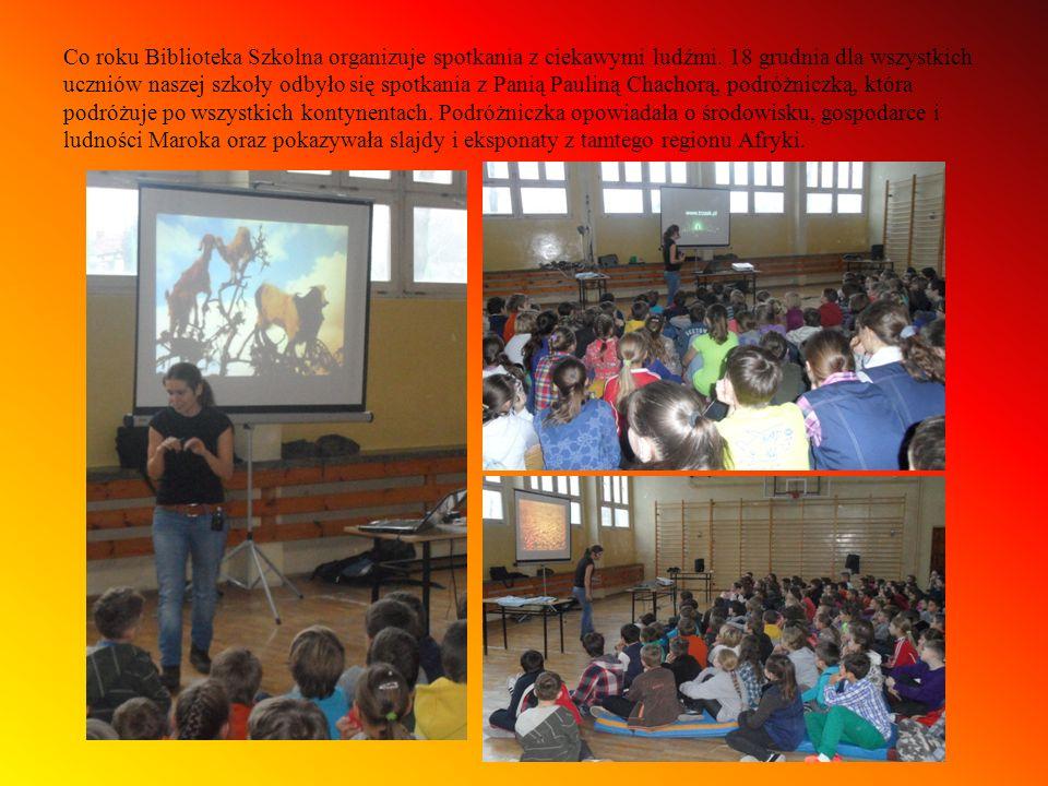 Co roku Biblioteka Szkolna organizuje spotkania z ciekawymi ludźmi. 18 grudnia dla wszystkich uczniów naszej szkoły odbyło się spotkania z Panią Pauli