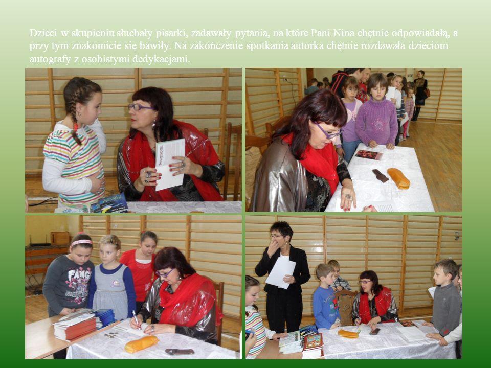 Dzieci w skupieniu słuchały pisarki, zadawały pytania, na które Pani Nina chętnie odpowiadałą, a przy tym znakomicie się bawiły. Na zakończenie spotka