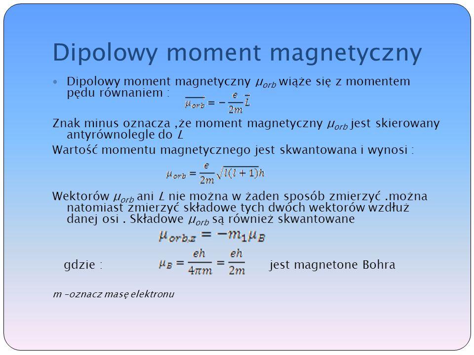Dipolowy moment magnetyczny Dipolowy moment magnetyczny μ orb wiąże się z momentem pędu równaniem : Znak minus oznacza,że moment magnetyczny μ orb jest skierowany antyrównolegle do L Wartość momentu magnetycznego jest skwantowana i wynosi : Wektorów μ orb ani L nie można w żaden sposób zmierzyć.można natomiast zmierzyć składowe tych dwóch wektorów wzdłuż danej osi.