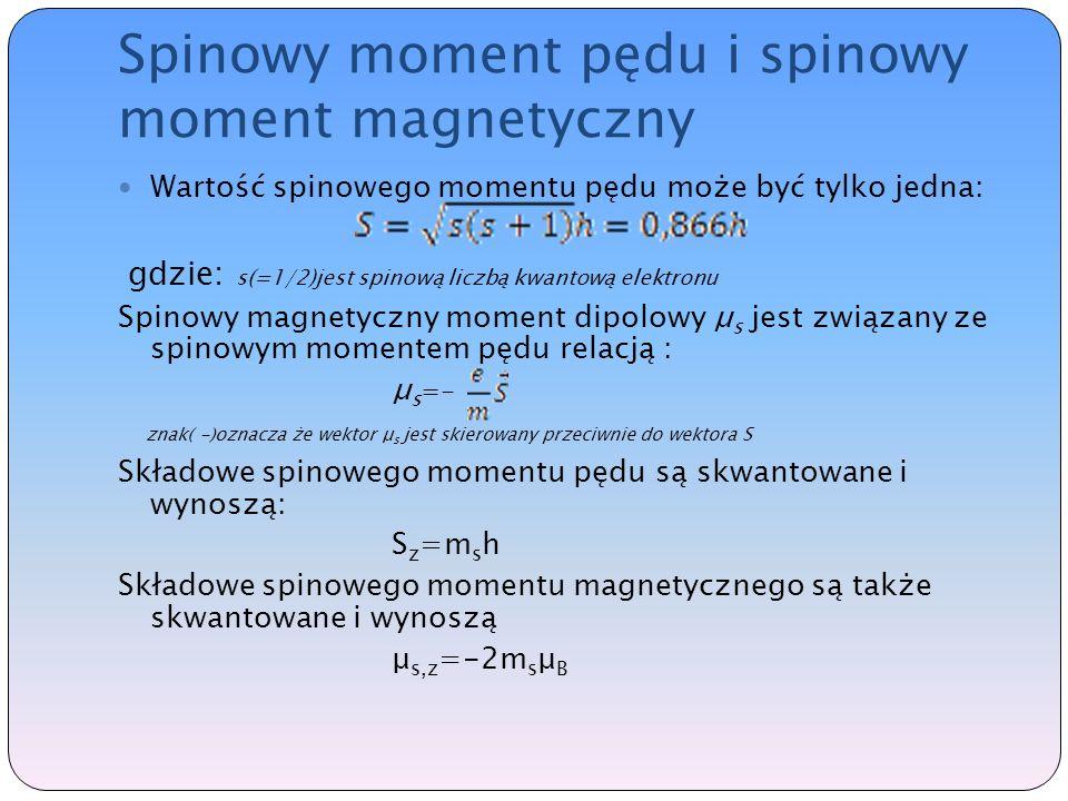 Spinowy moment pędu i spinowy moment magnetyczny Wartość spinowego momentu pędu może być tylko jedna: gdzie: s(=1/2)jest spinową liczbą kwantową elektronu Spinowy magnetyczny moment dipolowy μ s jest związany ze spinowym momentem pędu relacją : μ s =- znak( -)oznacza że wektor μ s jest skierowany przeciwnie do wektora S Składowe spinowego momentu pędu są skwantowane i wynoszą: S z =m s h Składowe spinowego momentu magnetycznego są także skwantowane i wynoszą μ s,z =-2m s μ B