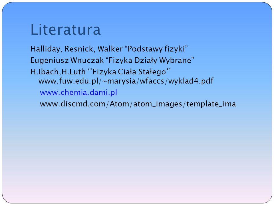 Literatura Halliday, Resnick, Walker Podstawy fizyki Eugeniusz Wnuczak Fizyka Działy Wybrane H.Ibach,H.Luth Fizyka Ciała Stałego www.fuw.edu.pl/~marysia/wfaccs/wyklad4.pdf www.chemia.dami.pl www.discmd.com/Atom/atom_images/template_ima