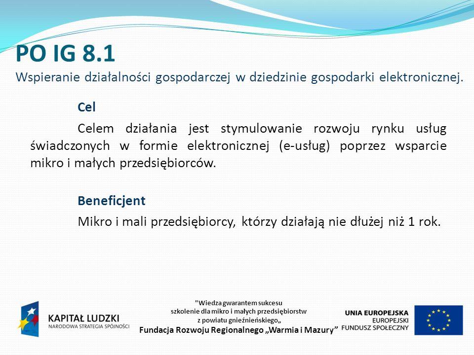 PO IG 8.1 Wspieranie działalności gospodarczej w dziedzinie gospodarki elektronicznej.