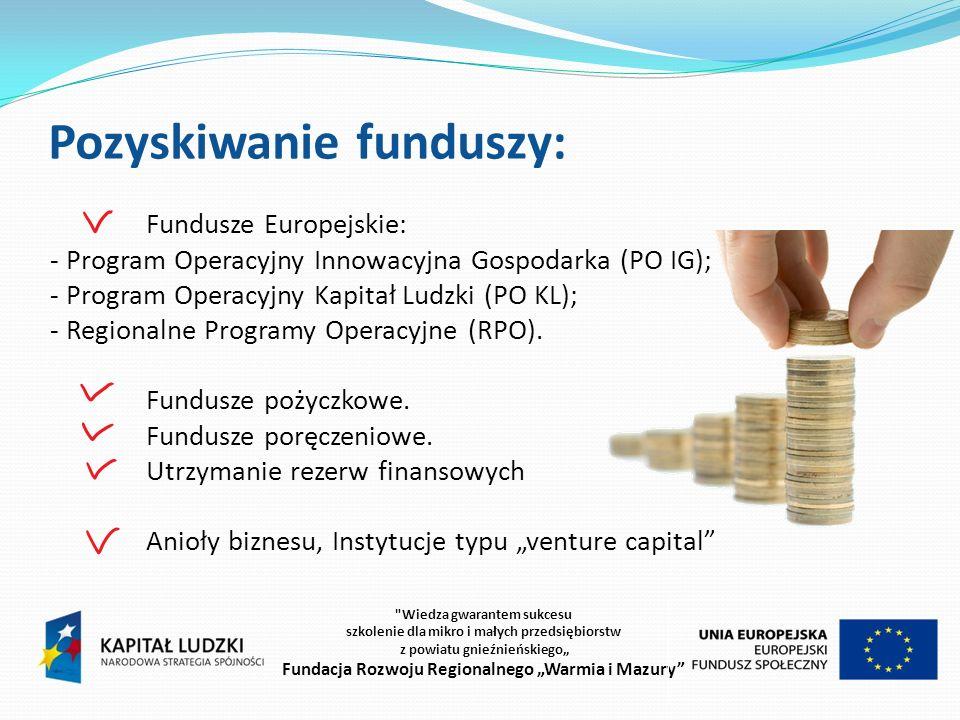 Fundusze poręczeniowe O poręczenie może strać się przedsiębiorca, który: złożył wniosek o kredyt lub pożyczkę w instytucji finansowej, z którą dany fundusz poręczeniowy ma podpisana umowę o współpracy, zatrudnia do 250 pracowników lub prowadzi jednoosobową działalność gospodarczą, prowadzi działalność co najmniej 3 miesiące, posiada zdolność kredytową, posiada wyraźnie określony cel, na który zostanie wykorzystana pożyczka lub kredyt i dobrze przygotowaną strategię działania, nie działa w sektorze rolniczym, zbrojeniowym oraz nie prowadzi działalności przemysłowej określanej jako szkodliwa dla środowiska czy powszechnie uznawanej za nieetyczną Wiedza gwarantem sukcesu szkolenie dla mikro i małych przedsiębiorstw z powiatu gnieźnieńskiego Fundacja Rozwoju Regionalnego Warmia i Mazury