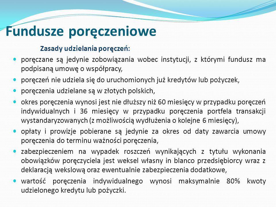 Fundusze poręczeniowe Zasady udzielania poręczeń: poręczane są jedynie zobowiązania wobec instytucji, z którymi fundusz ma podpisaną umowę o współpracy, poręczeń nie udziela się do uruchomionych już kredytów lub pożyczek, poręczenia udzielane są w złotych polskich, okres poręczenia wynosi jest nie dłuższy niż 60 miesięcy w przypadku poręczeń indywidualnych i 36 miesięcy w przypadku poręczenia portfela transakcji wystandaryzowanych (z możliwością wydłużenia o kolejne 6 miesięcy), opłaty i prowizje pobierane są jedynie za okres od daty zawarcia umowy poręczenia do terminu ważności poręczenia, zabezpieczeniem na wypadek roszczeń wynikających z tytułu wykonania obowiązków poręczyciela jest weksel własny in blanco przedsiębiorcy wraz z deklaracją wekslową oraz ewentualnie zabezpieczenia dodatkowe, wartość poręczenia indywidualnego wynosi maksymalnie 80% kwoty udzielonego kredytu lub pożyczki.