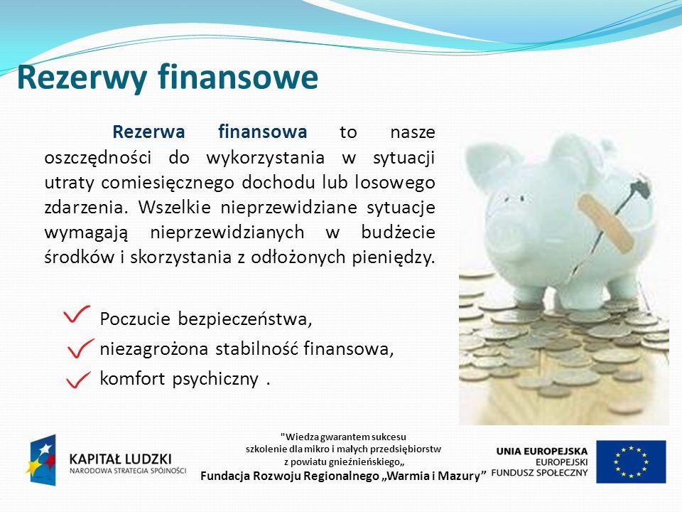 Rezerwy finansowe Poczucie bezpieczeństwa, niezagrożona stabilność finansowa, komfort psychiczny.