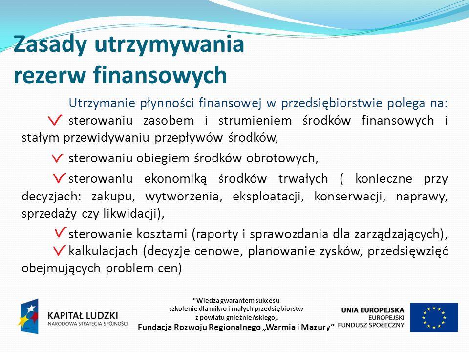 Zasady utrzymywania rezerw finansowych Wiedza gwarantem sukcesu szkolenie dla mikro i małych przedsiębiorstw z powiatu gnieźnieńskiego Fundacja Rozwoju Regionalnego Warmia i Mazury Utrzymanie płynności finansowej w przedsiębiorstwie polega na: sterowaniu zasobem i strumieniem środków finansowych i stałym przewidywaniu przepływów środków, sterowaniu obiegiem środków obrotowych, sterowaniu ekonomiką środków trwałych ( konieczne przy decyzjach: zakupu, wytworzenia, eksploatacji, konserwacji, naprawy, sprzedaży czy likwidacji), sterowanie kosztami (raporty i sprawozdania dla zarządzających), kalkulacjach (decyzje cenowe, planowanie zysków, przedsięwzięć obejmujących problem cen)