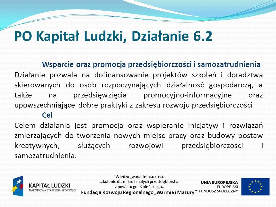 PO KL 6.2 Wsparcie oraz promocja przedsiębiorczości i samozatrudnienia Przeznaczenie Dofinansowanie dla projektów obejmujących pomoc merytoryczno-doradczą dla osób planujących rozpoczęcie działalności gospodarczej.