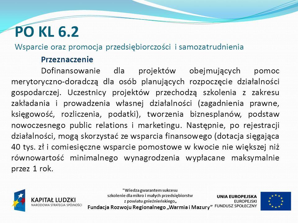 PO KL 6.2 Wsparcie oraz promocja przedsiębiorczości i samozatrudnienia Beneficjenci O wsparcie na realizację projektu mogą się ubiegać wszystkie podmioty z wyłączeniem powiatowych urzędów pracy oraz osób fizycznych (nie dotyczy osób prowadzących działalność oświatową).