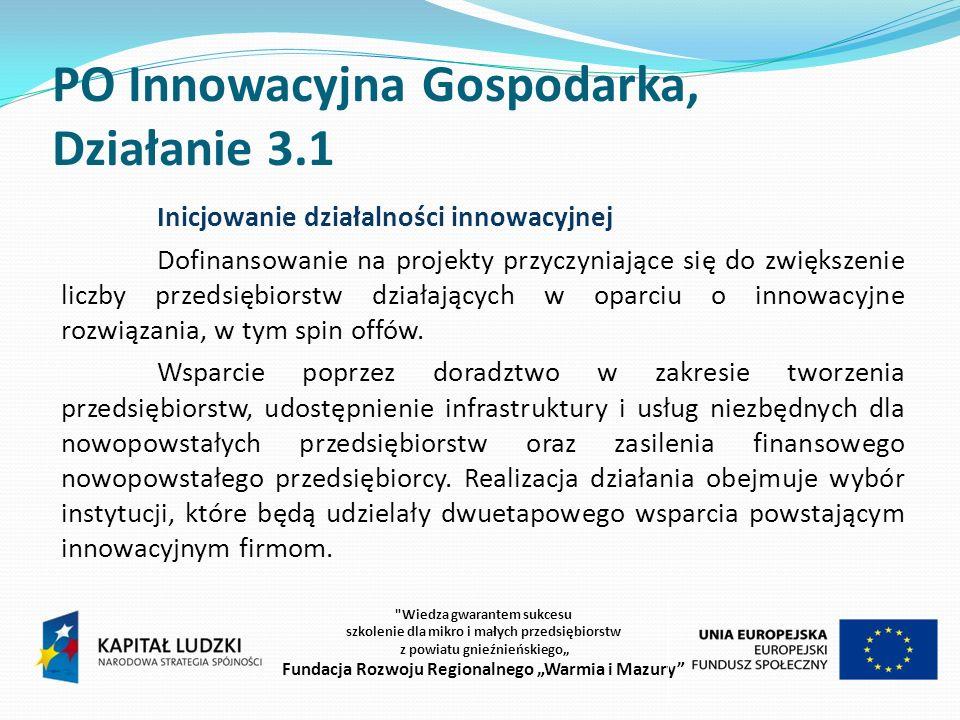 PO Innowacyjna Gospodarka, Działanie 3.1 Inicjowanie działalności innowacyjnej Dofinansowanie na projekty przyczyniające się do zwiększenie liczby przedsiębiorstw działających w oparciu o innowacyjne rozwiązania, w tym spin offów.