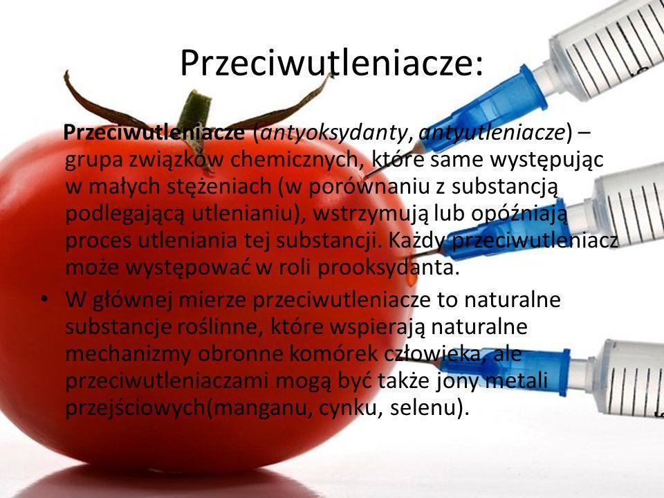 Przeciwutleniacze: Przeciwutleniacze (antyoksydanty, antyutleniacze) – grupa związków chemicznych, które same występując w małych stężeniach (w porówn