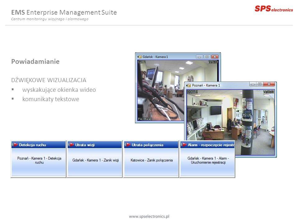 Powiadamianie DŹWIĘKOWE WIZUALIZACJA wyskakujące okienka wideo komunikaty tekstowe EMS Enterprise Management Suite Centrum monitoringu wizyjnego i ala