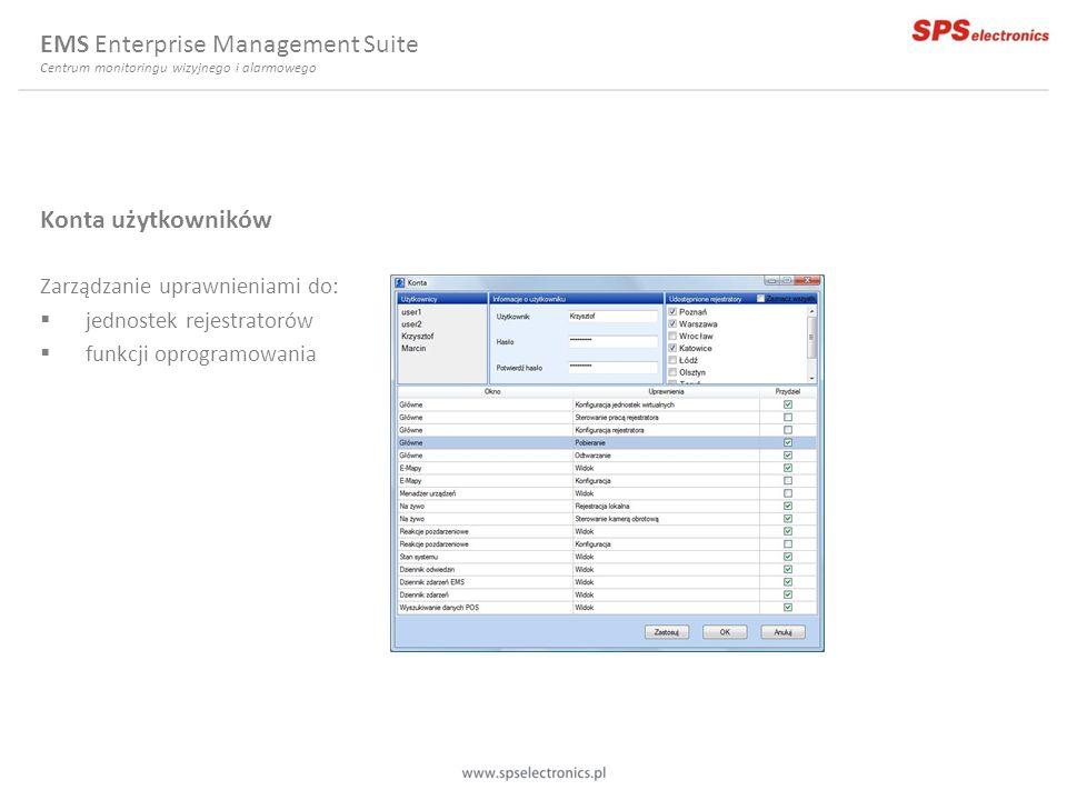 Konta użytkowników Zarządzanie uprawnieniami do: jednostek rejestratorów funkcji oprogramowania EMS Enterprise Management Suite Centrum monitoringu wi