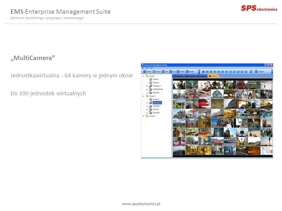 MultiCamera Jednostkawirtualna - 64 kamery w jednym oknie Do 100 jednostek wirtualnych EMS Enterprise Management Suite Centrum monitoringu wizyjnego i