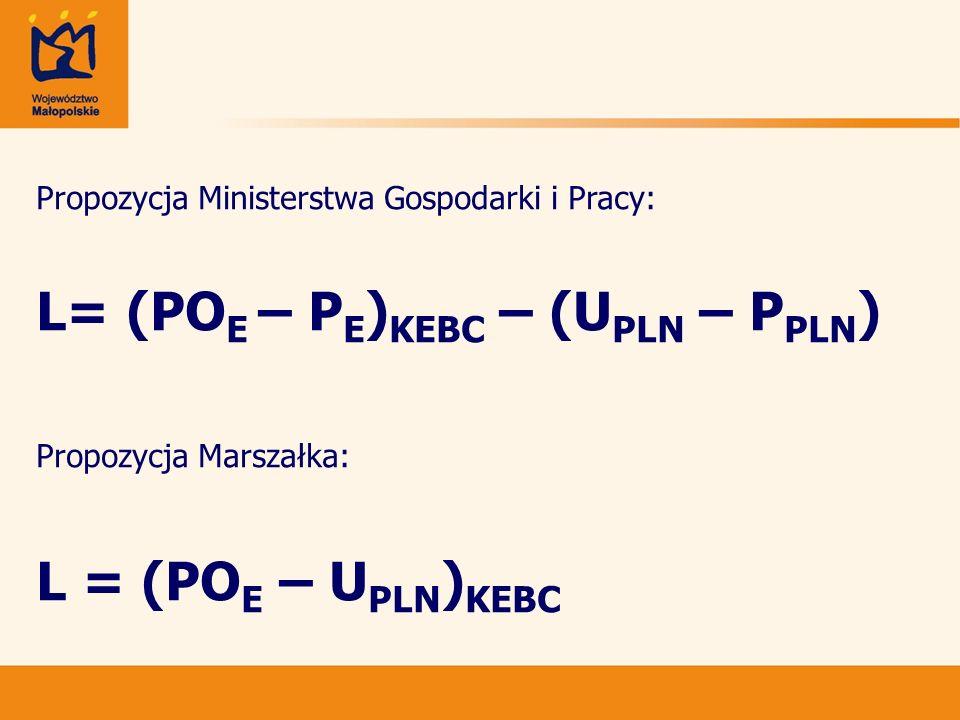Propozycja Ministerstwa Gospodarki i Pracy: L= (PO E – P E ) KEBC – (U PLN – P PLN ) Propozycja Marszałka: L = (PO E – U PLN ) KEBC