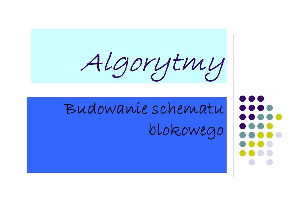 Algorytmy Budowanie schematu blokowego