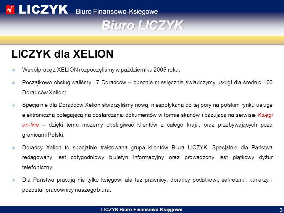LICZYK Biuro Finansowo-Księgowe LICZYK Biuro Finansowo-Księgowe 3 LICZYK dla XELION Współpracę z XELION rozpoczęliśmy w październiku 2005 roku; Począt