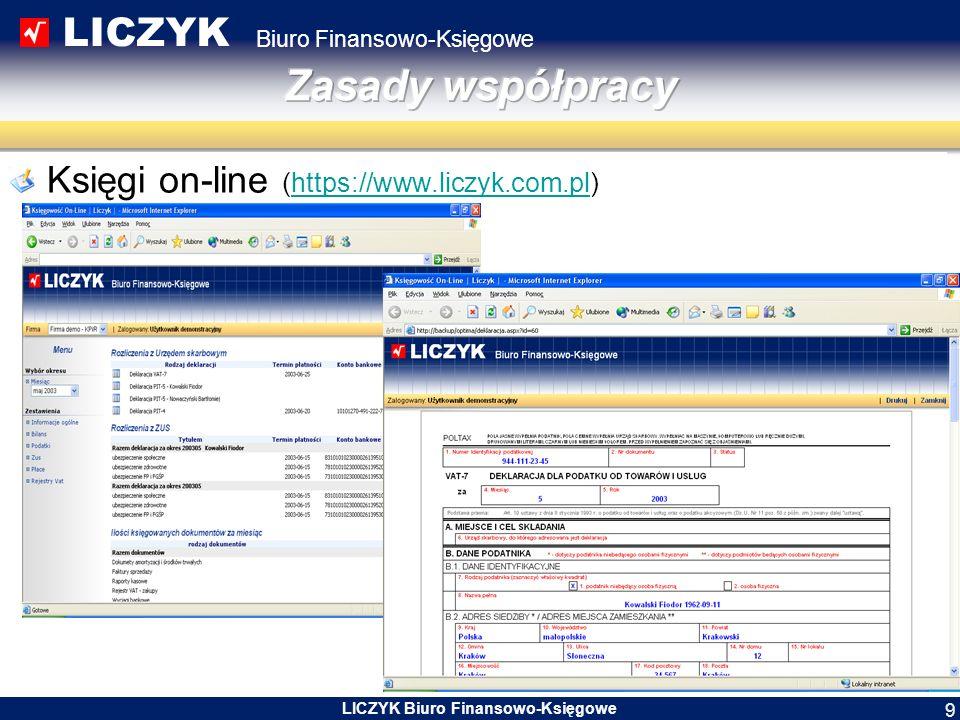 LICZYK Biuro Finansowo-Księgowe LICZYK Biuro Finansowo-Księgowe 10 Rejestracja działalności w jednym okienku Rejestracja w Centralnej Ewidencji i Informacji o Działalności Gospodarczej następuje przez stronę www.prod.ceidg.gov.pl lub w urzędzie gminy zgodnym z miejscem zamieszkania.www.prod.ceidg.gov.pl Złożenie wniosku jest jednoznaczne z rejestracją w CEiDG, złożeniem wniosku o nadanie numeru REGON, zgłoszeniem do urzędu skarbowego oraz do ZUS.