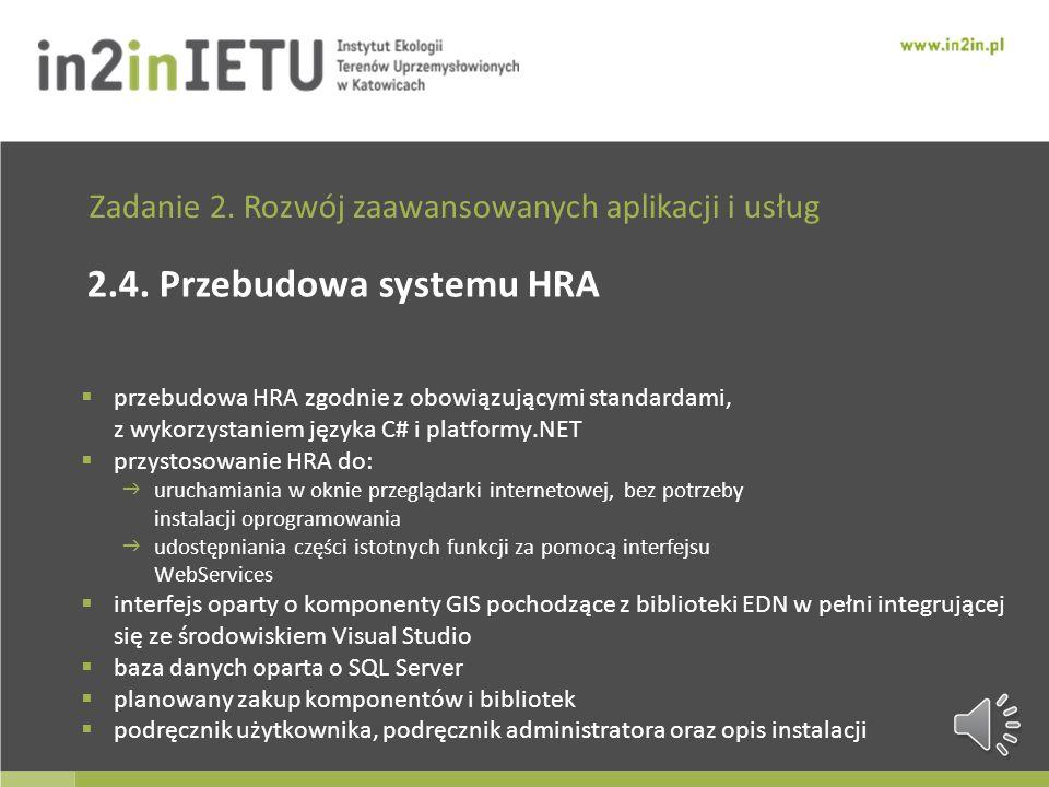 Zadanie 2. Rozwój zaawansowanych aplikacji i usług 2.3. Przebudowa systemu SINZaP zakup klastra obliczeniowego i serwera zagęszczenie siatki obliczeni