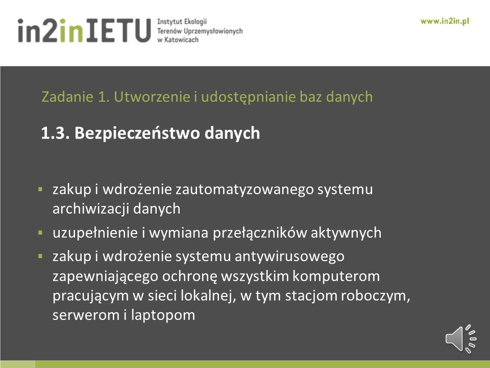 Zadanie 1. Utworzenie i udostępnianie baz danych 1.2. Kompleksowe dane przestrzenne o środowisku integracja posiadanych i używanych zasobów geograficz