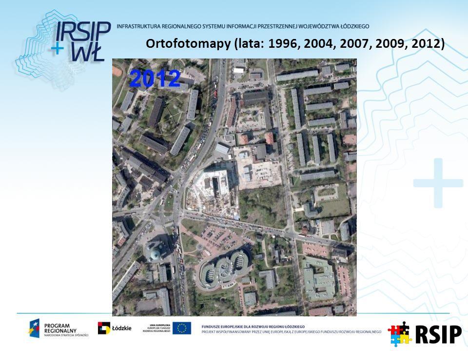 Ortofotomapy (lata: 1996, 2004, 2007, 2009, 2012)