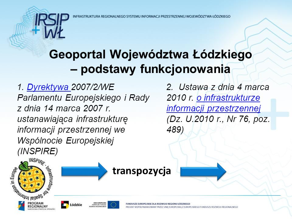 Geoportal Województwa Łódzkiego – podstawy funkcjonowania 1. Dyrektywa 2007/2/WE Parlamentu Europejskiego i Rady z dnia 14 marca 2007 r. ustanawiająca