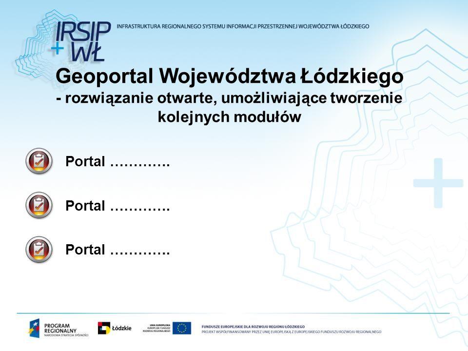 Portal …………. Geoportal Województwa Łódzkiego - rozwiązanie otwarte, umożliwiające tworzenie kolejnych modułów Portal ………….