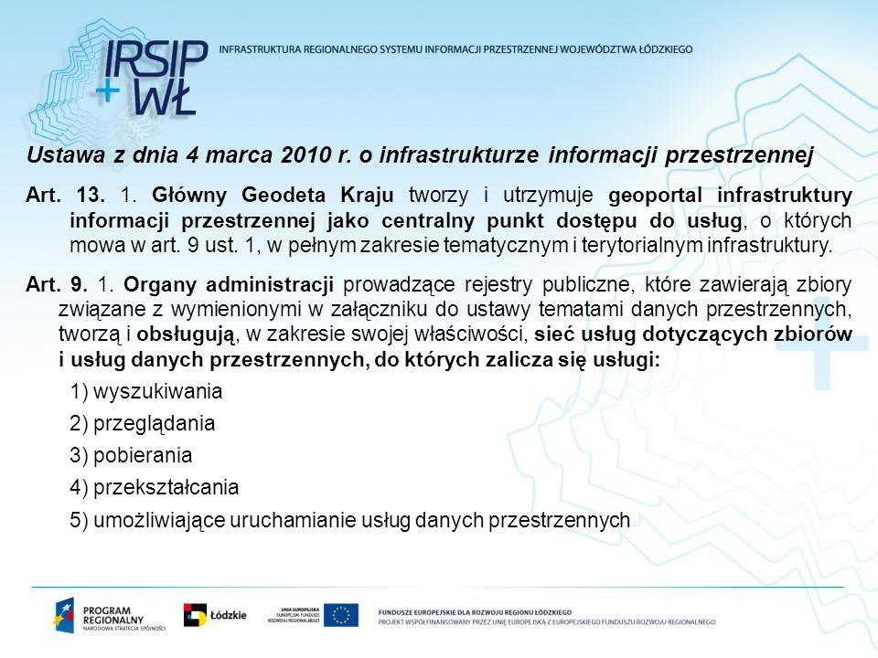 Ustawa z dnia 4 marca 2010 r. o infrastrukturze informacji przestrzennej Art. 13. 1. Główny Geodeta Kraju tworzy i utrzymuje geoportal infrastruktury