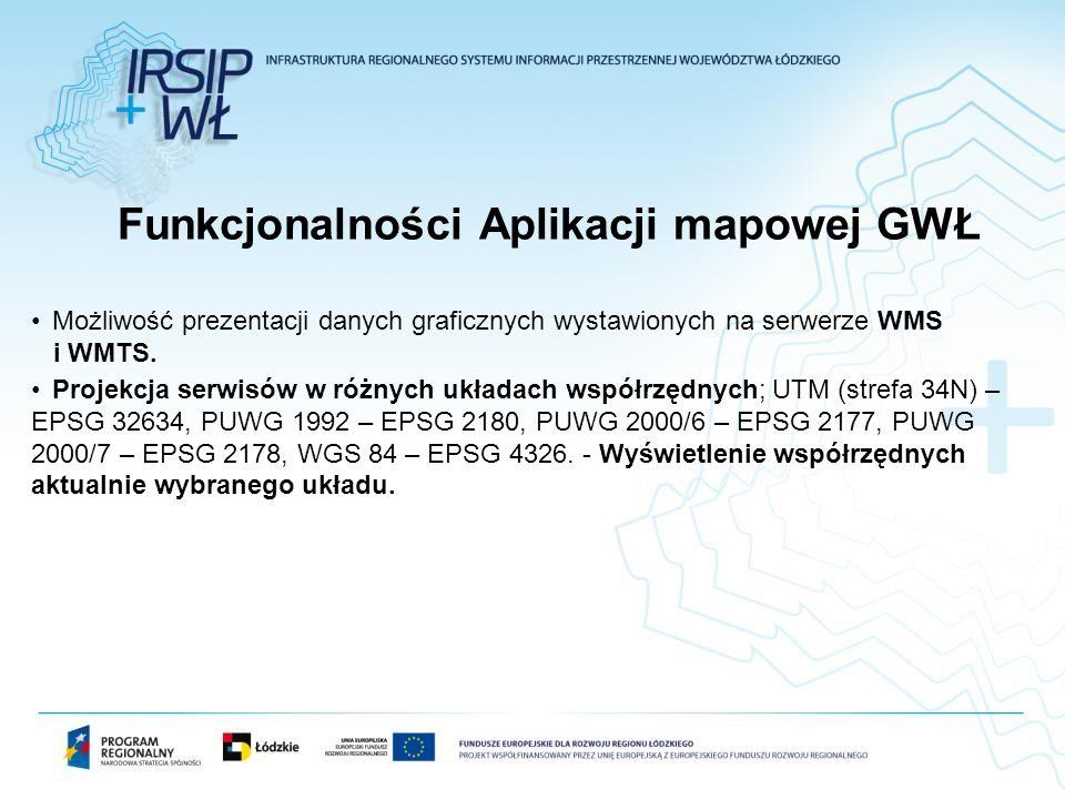 Możliwość prezentacji danych graficznych wystawionych na serwerze WMS i WMTS. Projekcja serwisów w różnych układach współrzędnych; UTM (strefa 34N) –