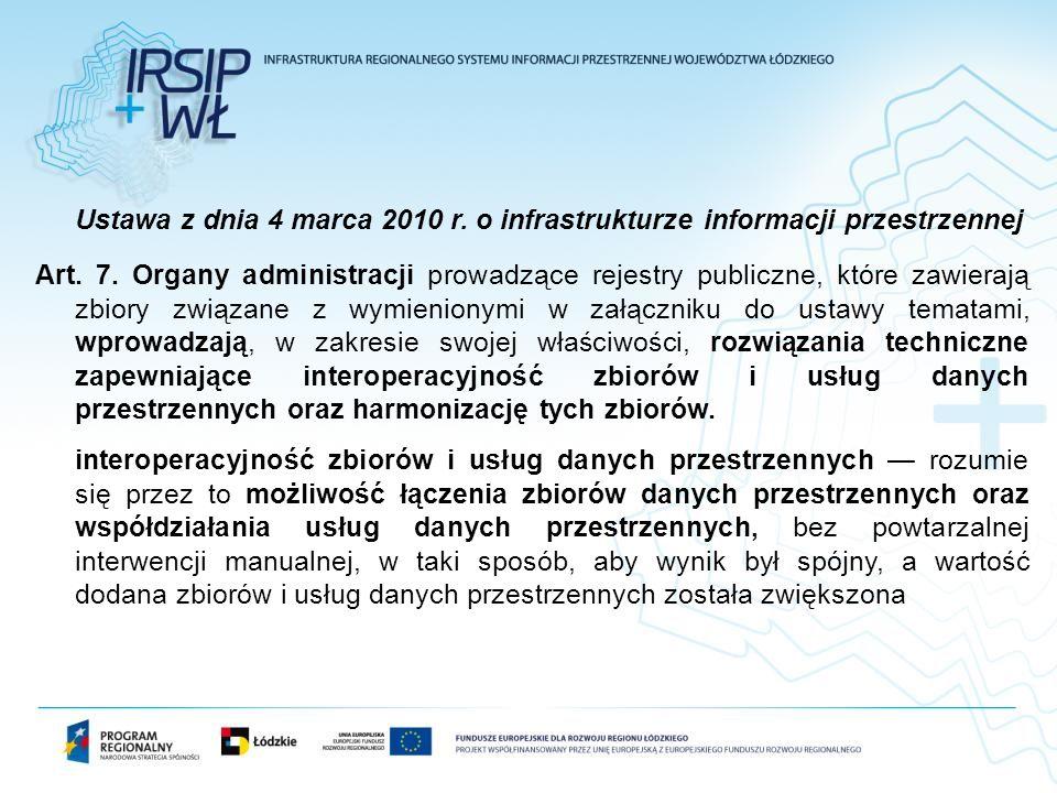 Ustawa z dnia 4 marca 2010 r. o infrastrukturze informacji przestrzennej Art. 7. Organy administracji prowadzące rejestry publiczne, które zawierają z
