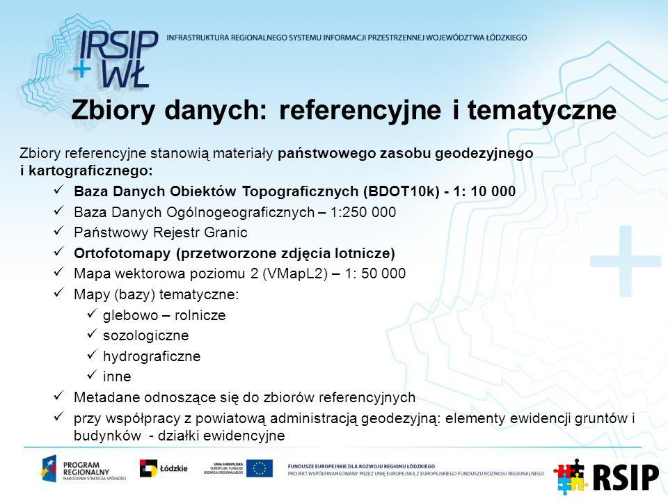 Zbiory danych: referencyjne i tematyczne Zbiory referencyjne stanowią materiały państwowego zasobu geodezyjnego i kartograficznego: Baza Danych Obiekt