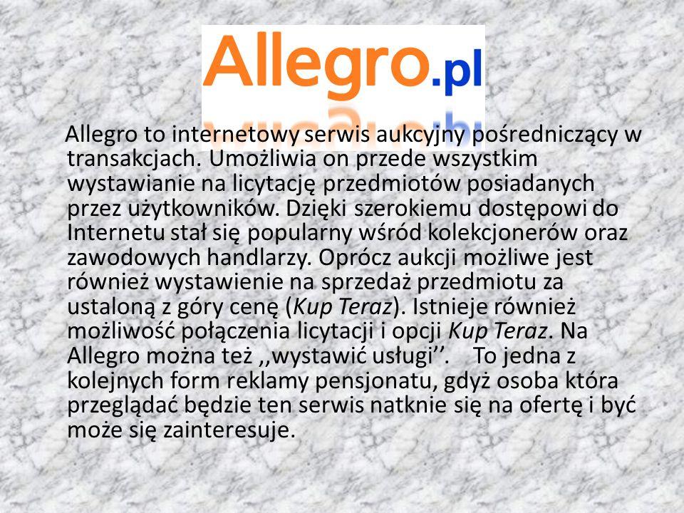 Allegro to internetowy serwis aukcyjny pośredniczący w transakcjach. Umożliwia on przede wszystkim wystawianie na licytację przedmiotów posiadanych pr