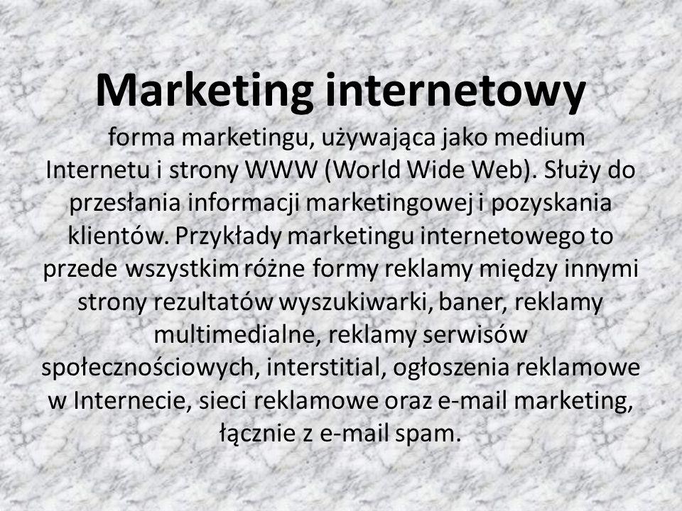 Początkowo reklama w Internecie przyjmowała formę tzw.