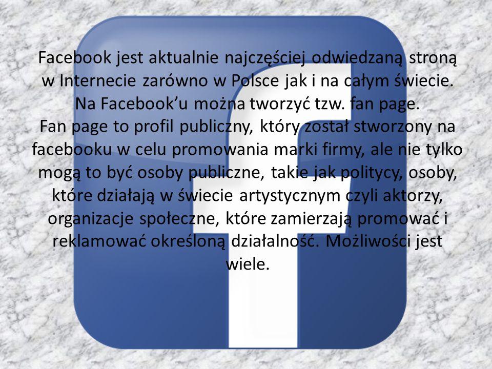 Facebook jest aktualnie najczęściej odwiedzaną stroną w Internecie zarówno w Polsce jak i na całym świecie. Na Facebooku można tworzyć tzw. fan page.