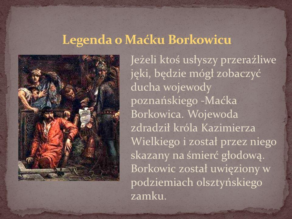 Jeżeli ktoś usłyszy przeraźliwe jęki, będzie mógł zobaczyć ducha wojewody poznańskiego -Maćka Borkowica. Wojewoda zdradził króla Kazimierza Wielkiego