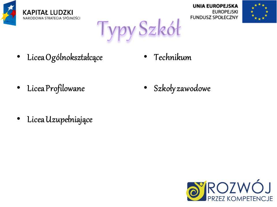 Licea Ogólnokształcące Licea Profilowane Licea Uzupełniające Technikum Szkoły zawodowe