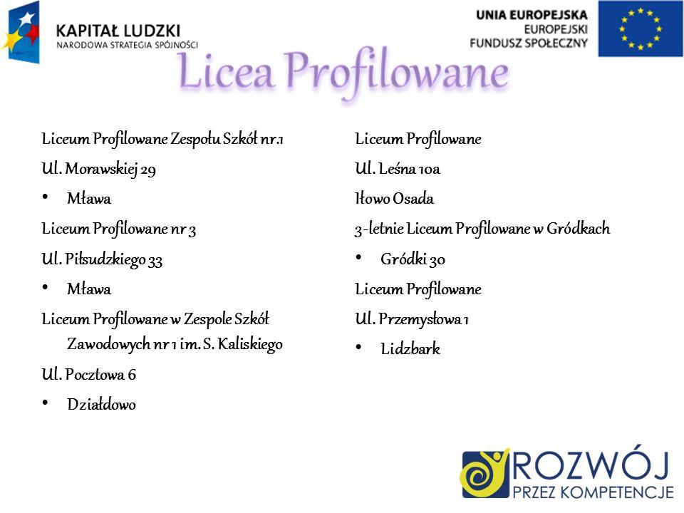 Liceum Profilowane Zespołu Szkół nr.1 Ul. Morawskiej 29 Mława Liceum Profilowane nr 3 Ul. Piłsudzkiego 33 Mława Liceum Profilowane w Zespole Szkół Zaw