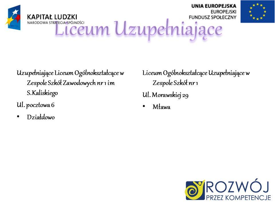 Uzupełniające Liceum Ogólnokształcące w Zespole Szkół Zawodowych nr 1 im S.Kaliskiego Ul. pocztowa 6 Działdowo Liceum Ogólnokształcące Uzupełniające w