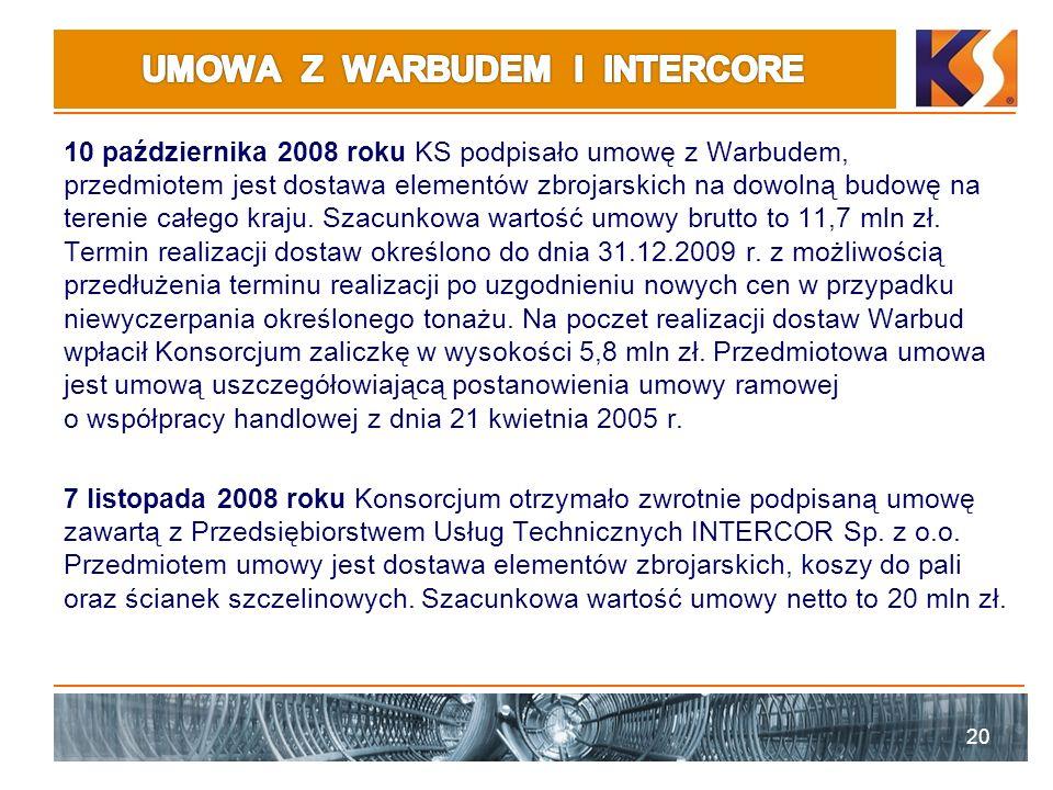 10 października 2008 roku KS podpisało umowę z Warbudem, przedmiotem jest dostawa elementów zbrojarskich na dowolną budowę na terenie całego kraju.