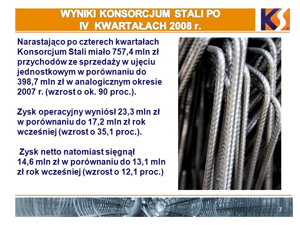 8 Przyczyną wzrostu przychodów jest połączenie ze spółką Bodeko, które nastąpiło 01.07.2008 r.