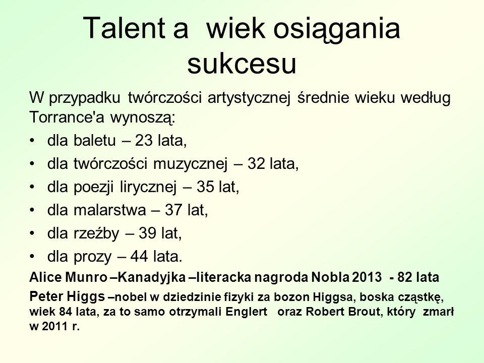 Talent a wiek osiągania sukcesu W przypadku twórczości artystycznej średnie wieku według Torrance a wynoszą: dla baletu – 23 lata, dla twórczości muzycznej – 32 lata, dla poezji lirycznej – 35 lat, dla malarstwa – 37 lat, dla rzeźby – 39 lat, dla prozy – 44 lata.