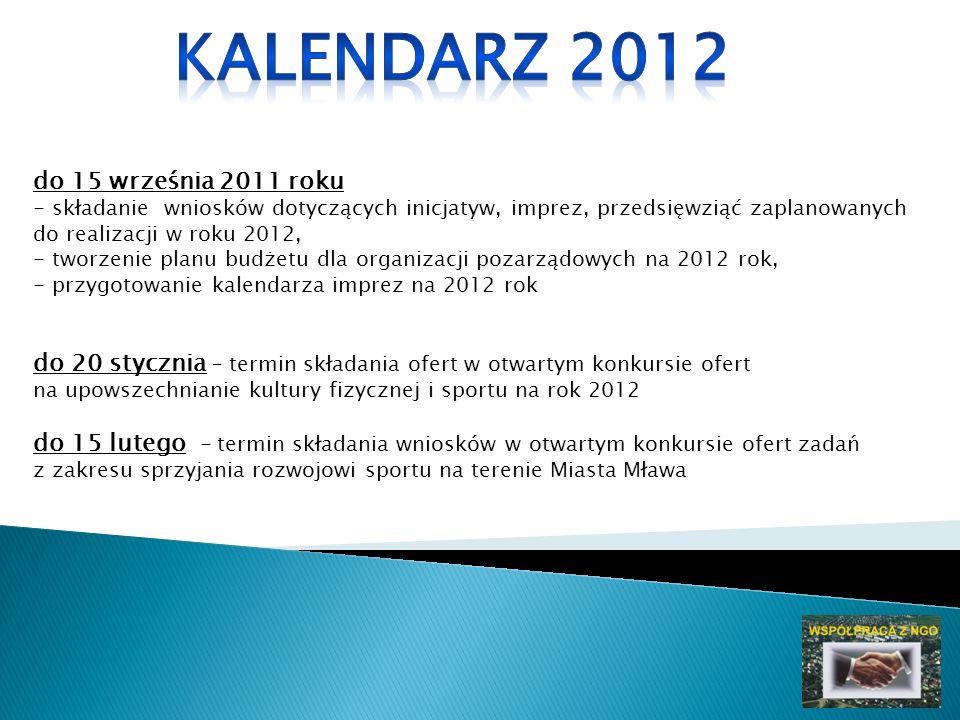 do 15 września 2011 roku - składanie wniosków dotyczących inicjatyw, imprez, przedsięwziąć zaplanowanych do realizacji w roku 2012, - tworzenie planu