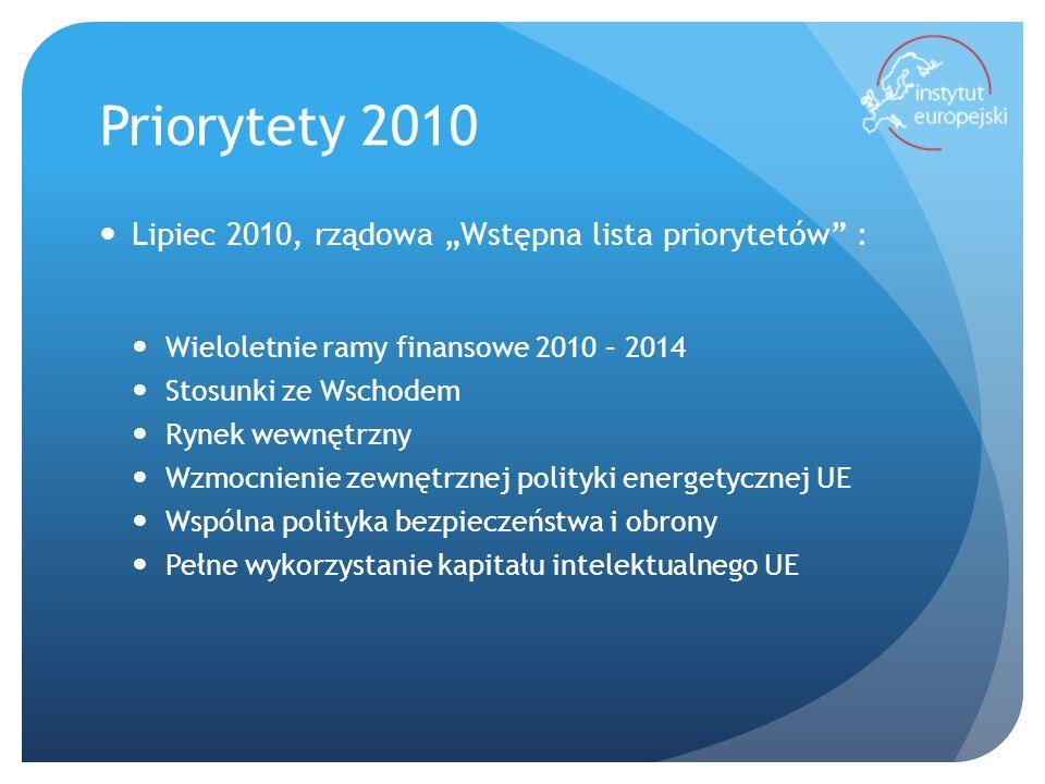 Priorytety 2011 15 marca 2011 – Rada Ministrów: Program 6- miesieczny polskiej prezydencji w Radzie Unii Europejskiej w II połowie 2011 r.