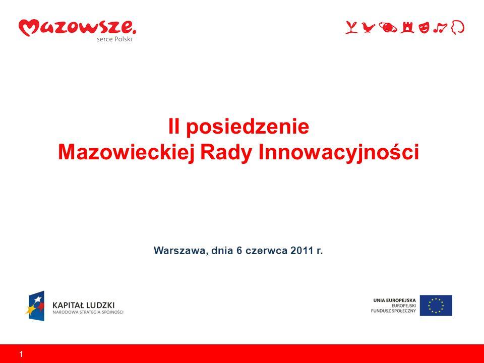II posiedzenie Mazowieckiej Rady Innowacyjności Warszawa, dnia 6 czerwca 2011 r. 1